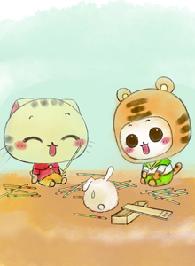 童年游戏可爱卡通小猫咪高清图片大全