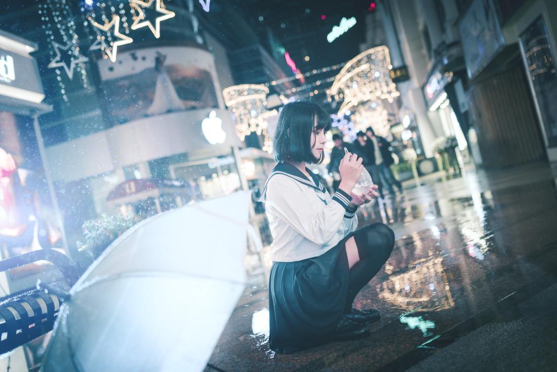 日系清纯美少女JK制服街拍夜景小清新摄影写真