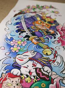 日式水彩纹身手稿图案 日式卡通纹身图片