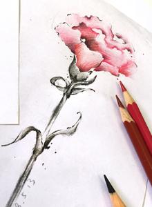 适合小女生的五款小清新花朵纹身设计手稿图片