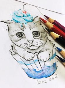 两款超可爱的小猫咪纹身设计手稿图片