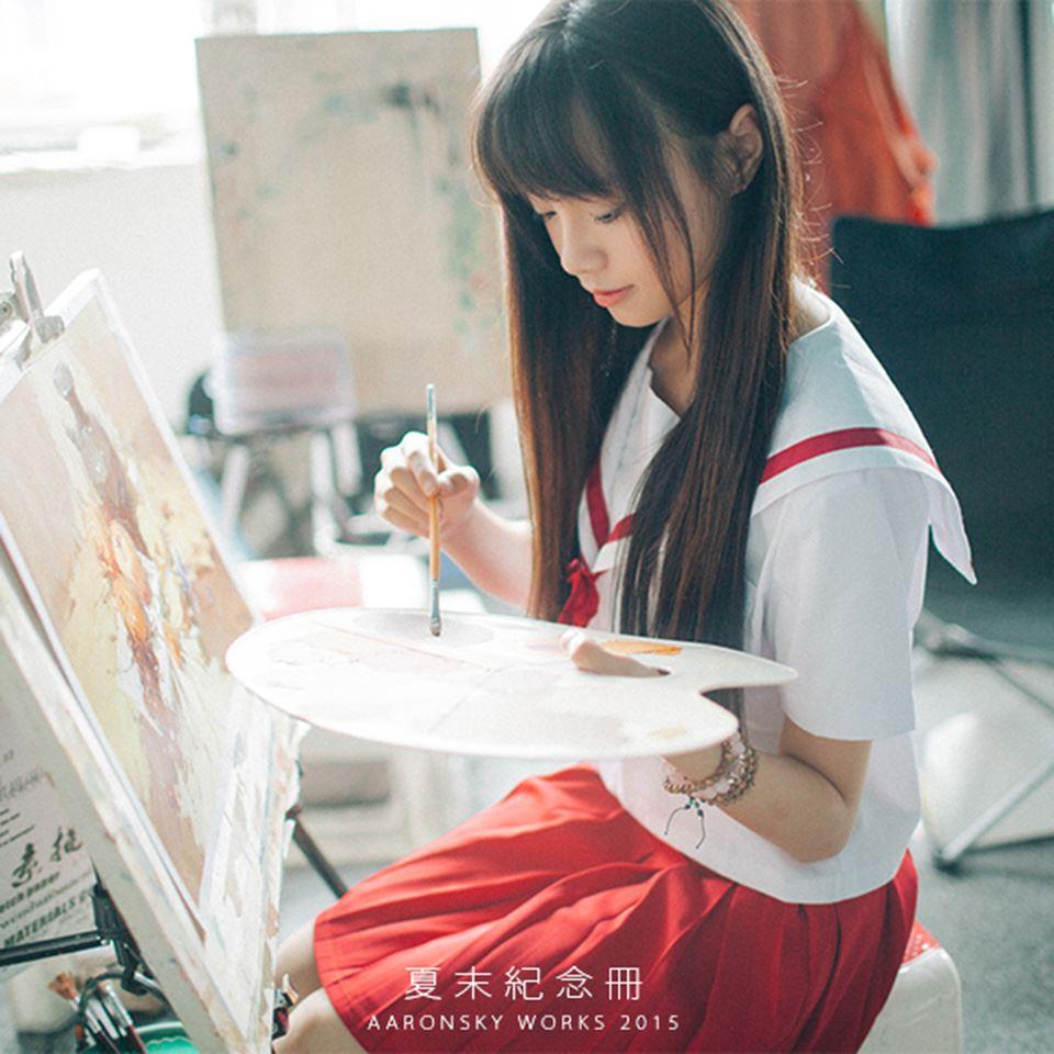 夏末纪念册 校园时光美术系小清新美女JK制服写真