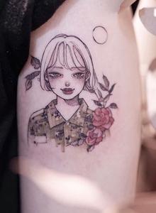 动漫卡通人物设计风格手臂纹身图片