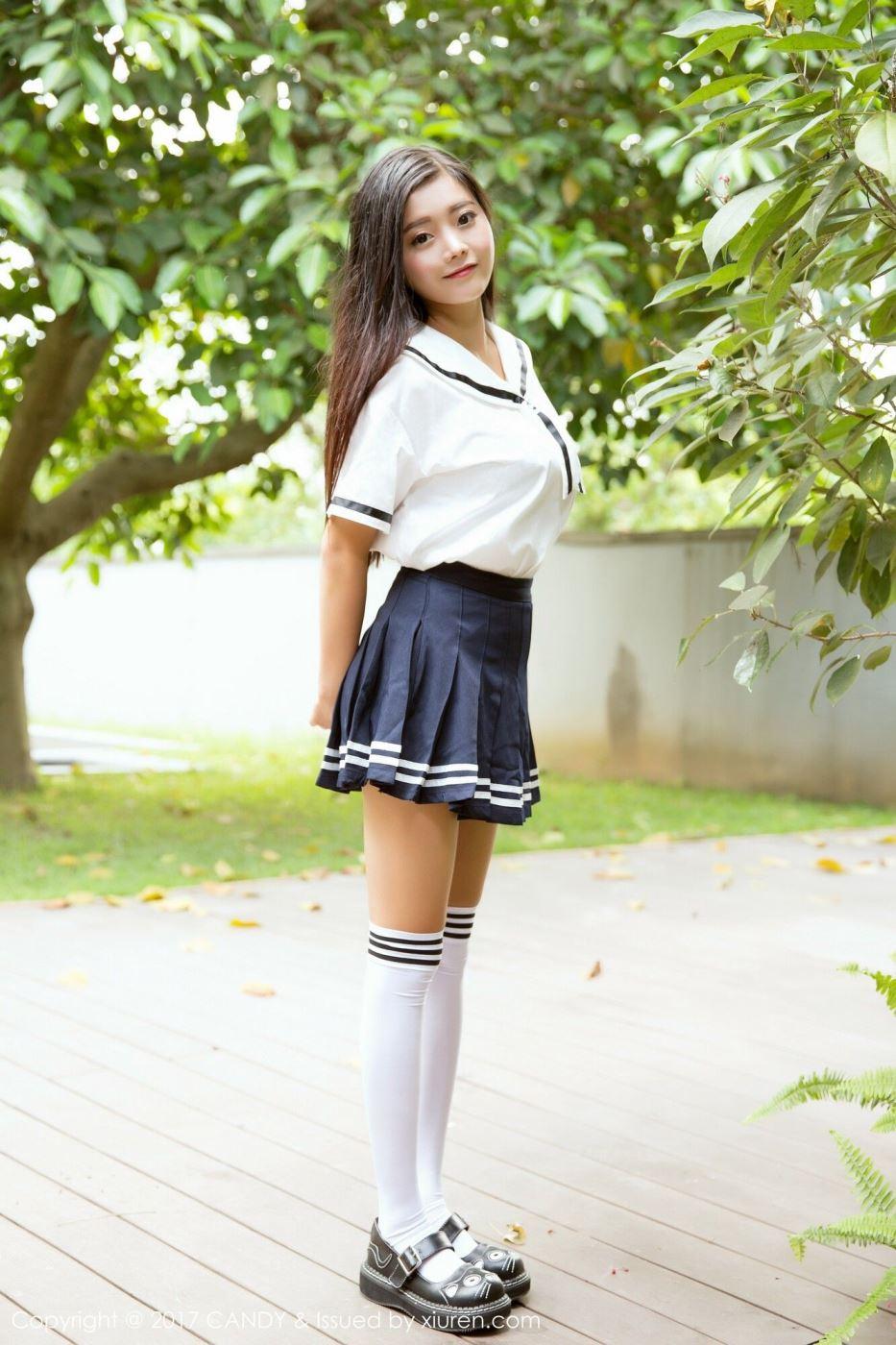糖果画报可爱小萝莉林美惠子学生体操服白丝美女清纯写真