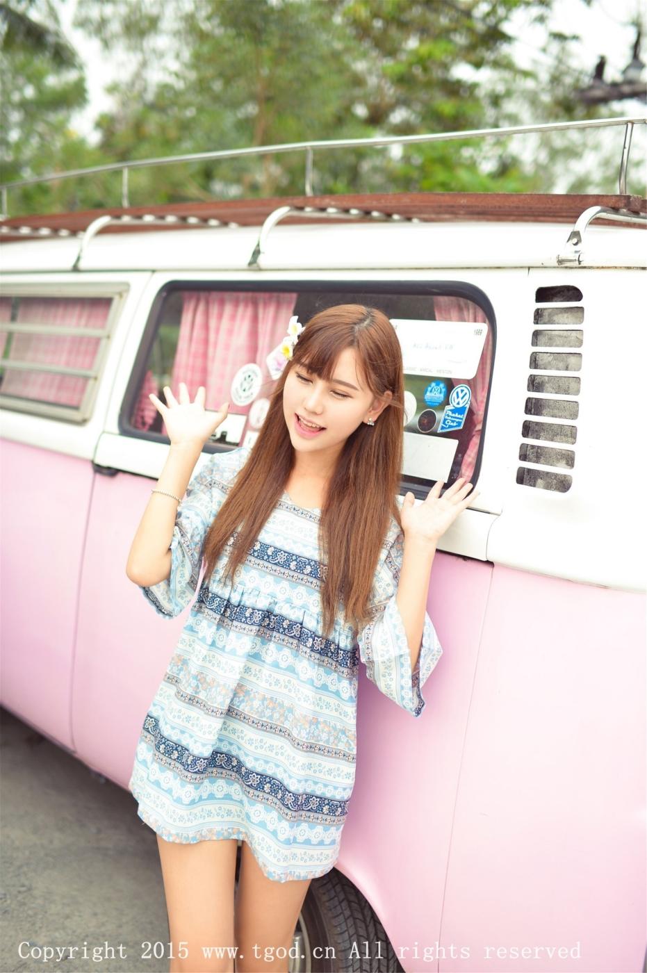 萌妹子Milk楚楚普吉岛旅拍小清新卡哇伊连衣裙美女图片