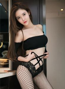 尤果网模特佟蔓性感女神黑丝网袜诱惑+死库水巨乳美女图片