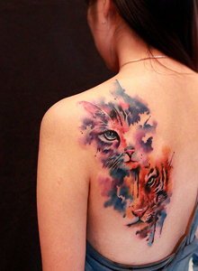 纹身设计图片,大猫小猫纹身美女图片