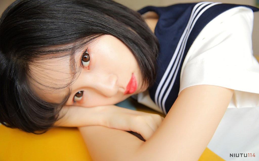 大学生小清新校花美女JK制服超短裙性感短发美女诱惑写真