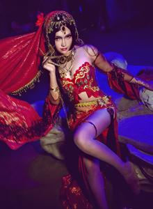 剑网三红衣教圣女·探雪Cosplay古风汉服美女写真图片