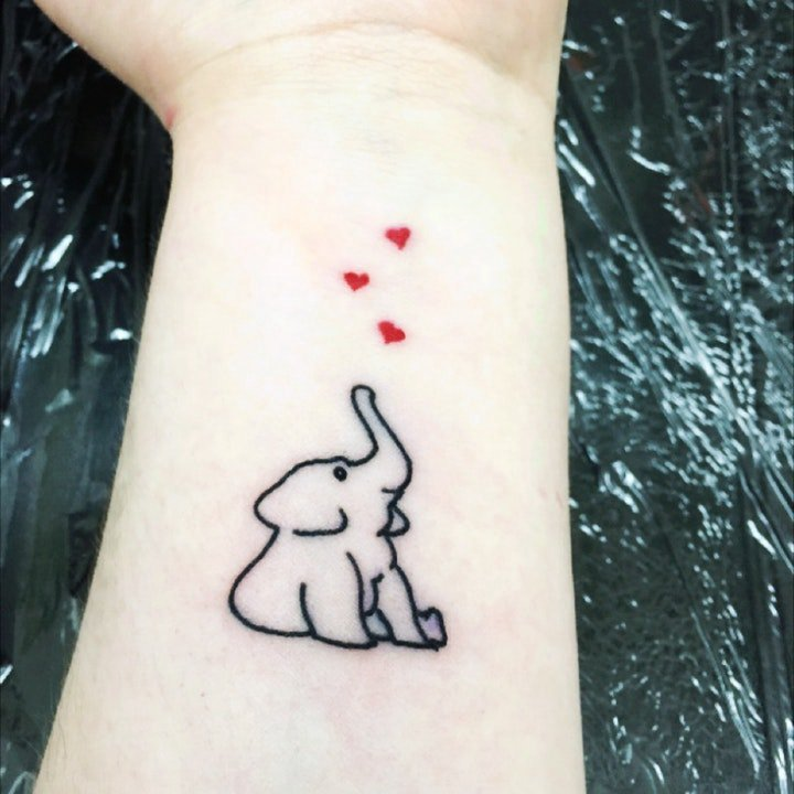 大象纹身图案 女生大腿纹身动物纹身图案大全