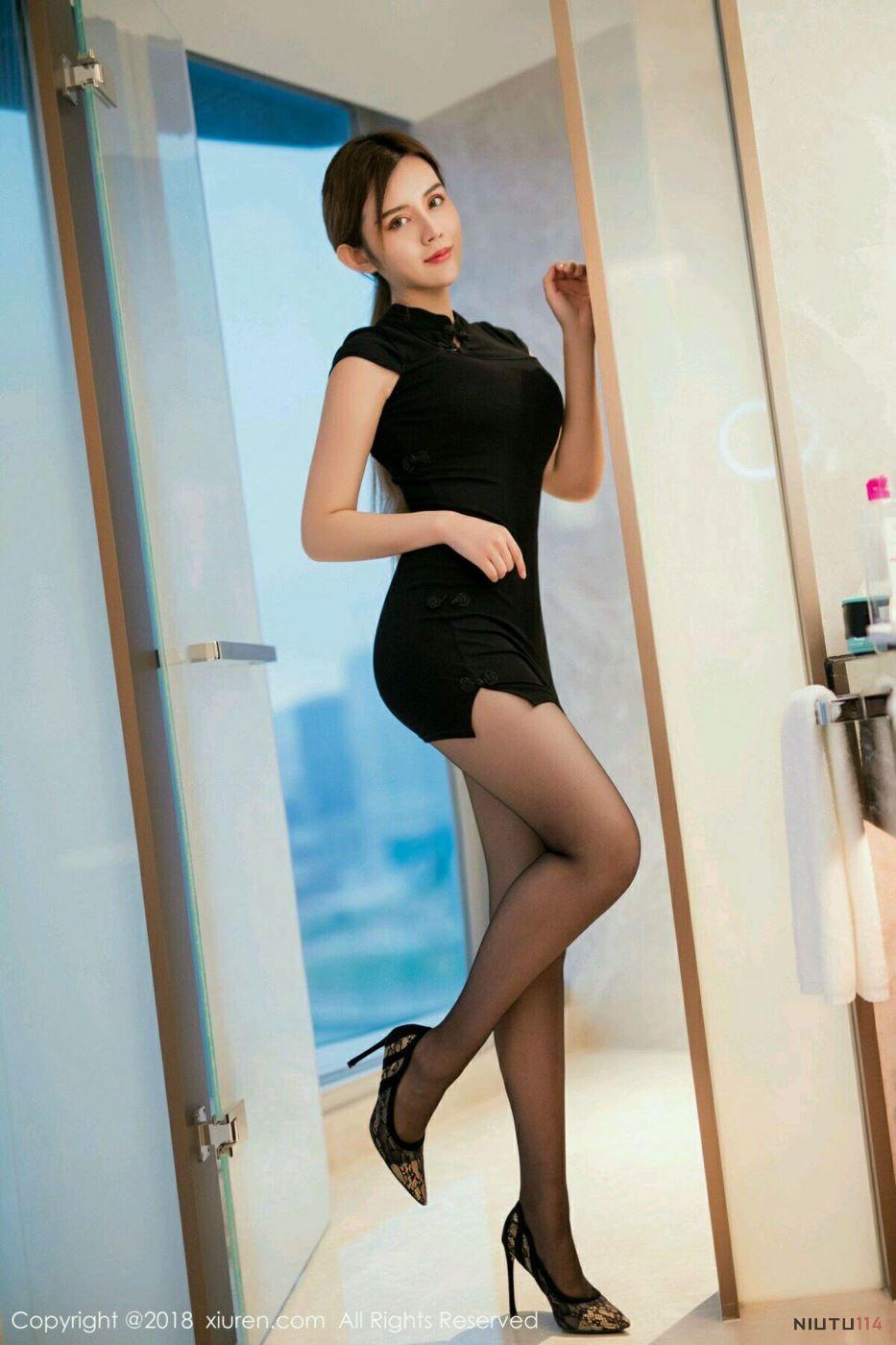 旗袍美女丝袜诱惑 秀人网Cris卓娅祺的性感黑丝美腿图片