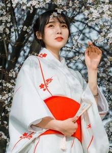 气质养眼美女小姐姐樱花树下和服装扮户外唯美写真图片