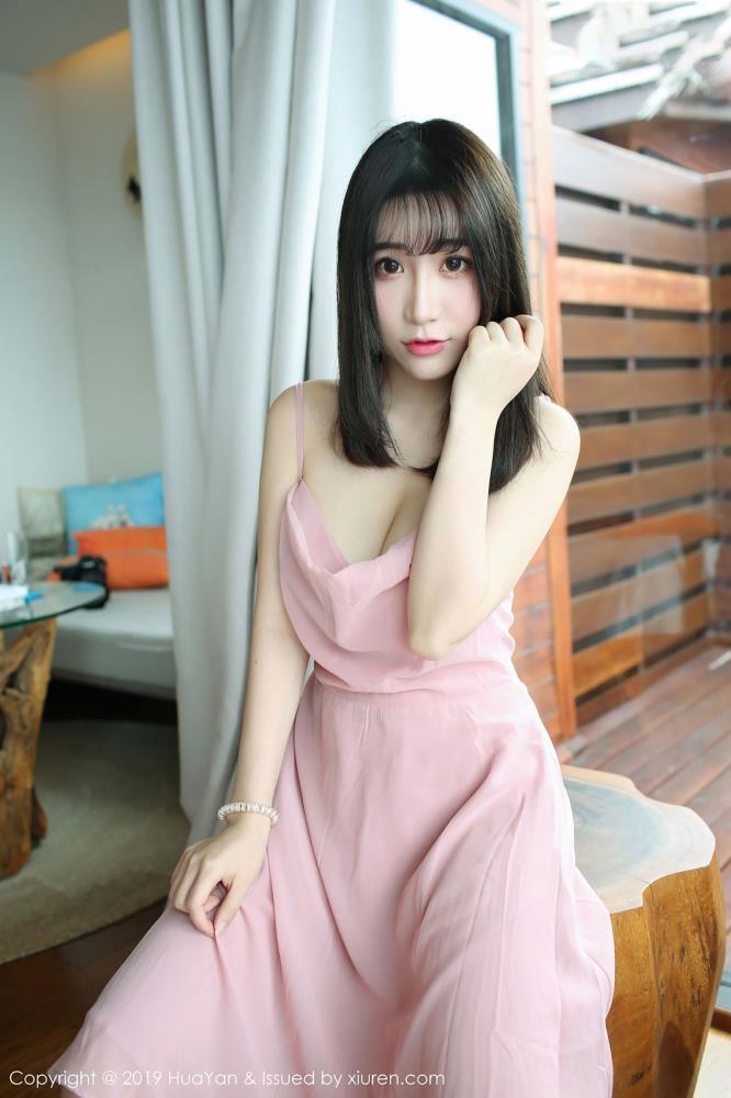 花の颜Vol.062谢芷馨绯月樱性感美女气质连衣裙美胸诱人
