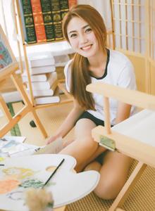 日系运动服小清新美女文艺范画室艺术摄影美女写真图片