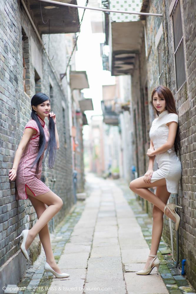 爱蜜社王曼妮/谭小雅清纯姐妹花_古典旗袍美女_民国风美女写真