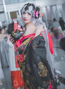黑贞德Cosplay和服美女小姐姐樱花祭系列写真图片
